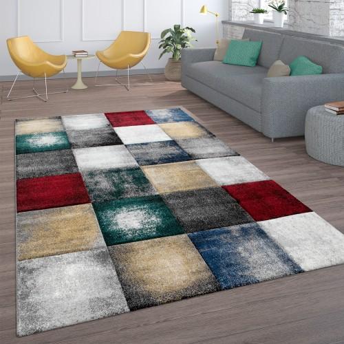 Teppich Wohnzimmer Karo-Muster Kurzflor