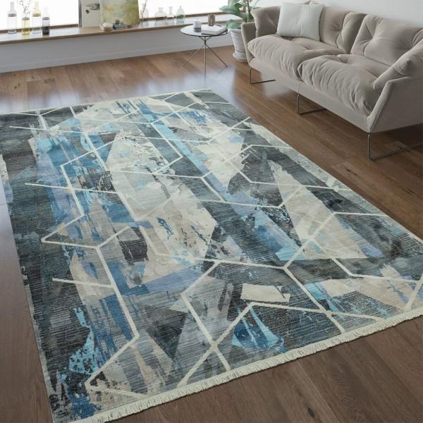 Designer Teppich Geometrische Muster Grau Blau