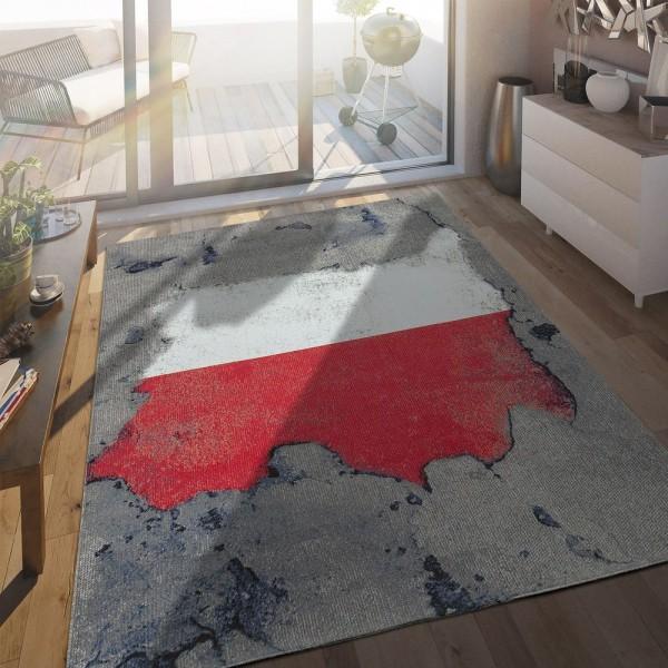 In- & Outdoor Terrassen Teppich Polnische Flagge Moderne Beton Optik