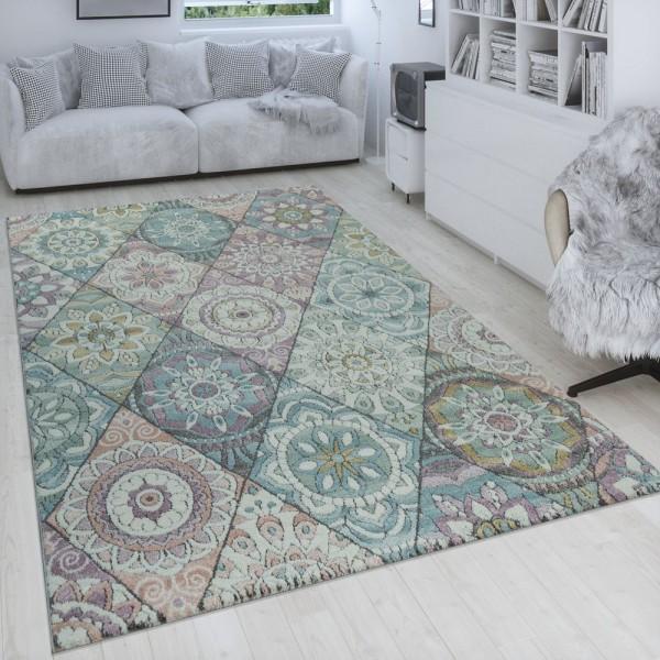 Retro Teppich Rauten Boho Stil Blumen Design 3-D