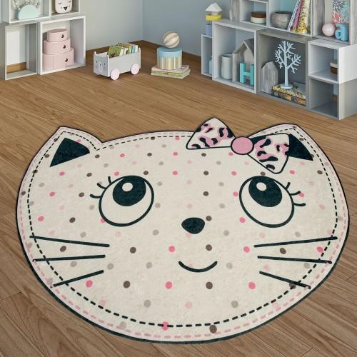 Kinderteppich Spielzimmer Verspielte Katze Mädchen Interieur In Weiß Rosa