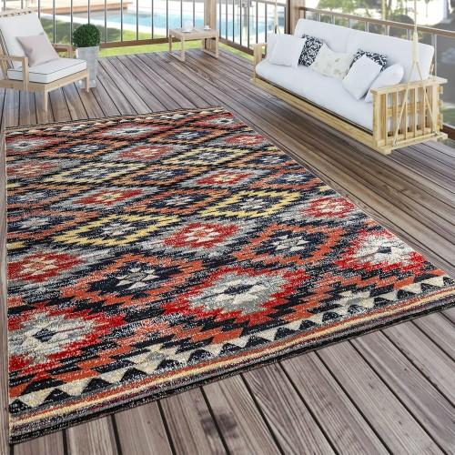 In- & Outdoor Teppich Modern Zickzack Muster Terrassen Teppich Wetterfest Bunt