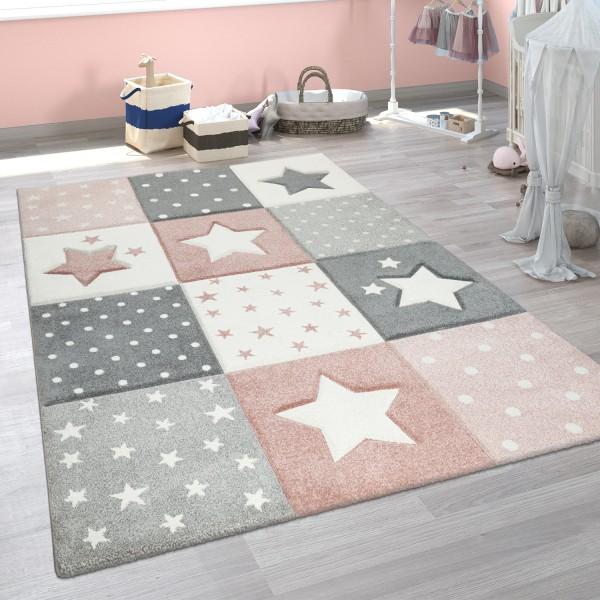 Kinder Teppich Pastellfarben Karo Sterne Punkte