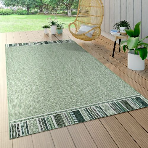 In- und Outdoorteppich Bordüre Grün Beige