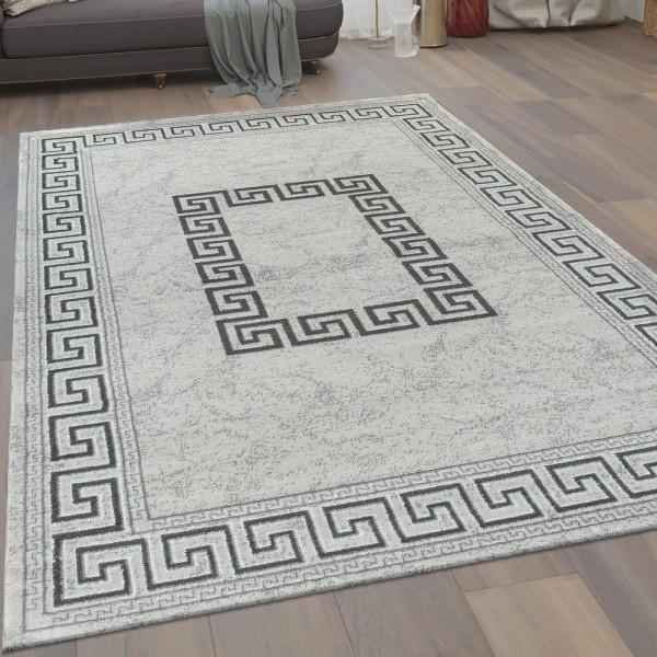 Moderner Kurzflor Wohnzimmer Teppich Mäander Muster Bordüre In Grau Schwarz