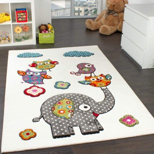 Kinderzimmer Teppich Niedliche Bunte Zootiere Eulen mit Elefanten Mehrfarbig
