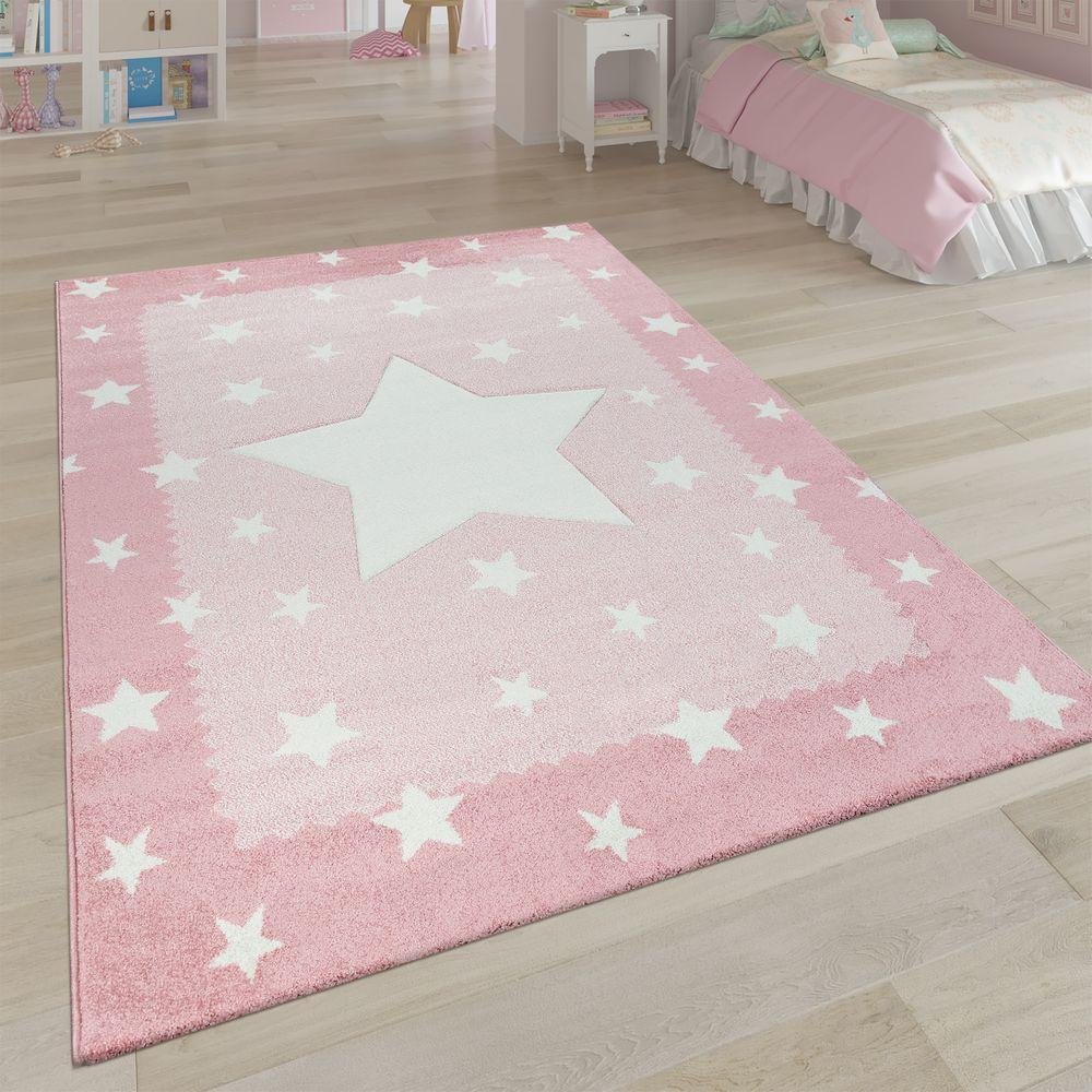 Teppich Kinderzimmer Pastell 3-D Stern Bordüre