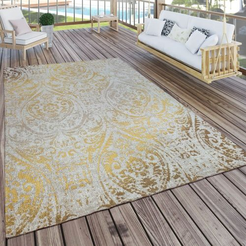 In- & Outdoor Teppich Modern Shabby Chic Stil Terrassen Teppich Wetterfest Gelb