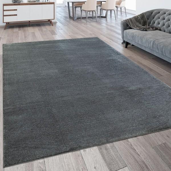 Kurzflor Wohnzimmer Teppich Waschbar Strapazierfähig Einfarbig Meliert Anthrazit