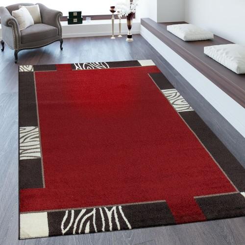 Kurzflorteppich Bordüre Rot