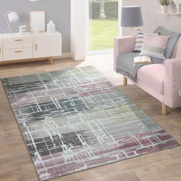Designer Teppich Modern Wohnzimmer Ölgemälde Mehrfarbig Pastell Industrie Design