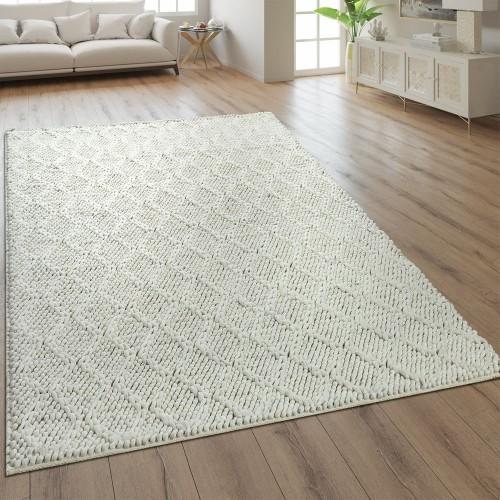 Teppich Handgefertigt Rauten Muster Creme