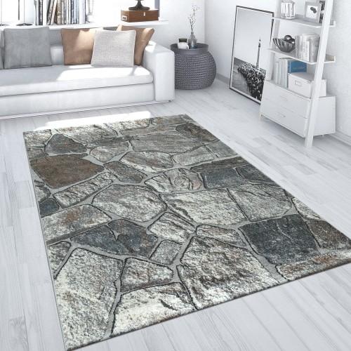 Teppich Wohnzimmer Gestein Design Fels Muster 3-D