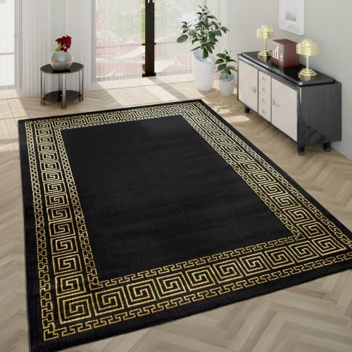 Wohnzimmer-Teppich Kurzflor Designer-Bordüre