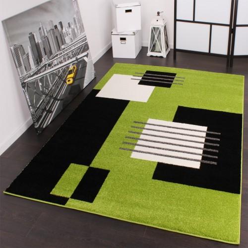 Designer Teppich Modern Karo in Grün Schwarz Weiss Top Qualität zum Top Preis