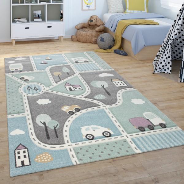 Kinder-Teppich Straßen-Motiv Pastellfarben