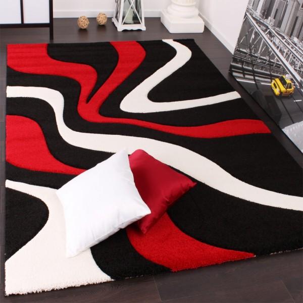 Designer Teppich mit Konturenschnitt Wellen Muster Rot Schwarz Weiss