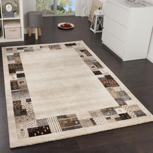 Designer Teppiche Modern Loribaft mit Bordüre Nomaden Teppich Beige Braun Creme