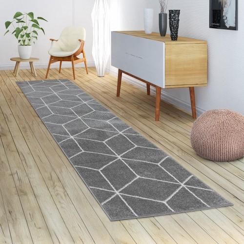 Skandi-Teppich Wohnzimmer Rauten-Muster