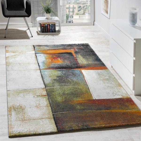 Designer Teppich Kurzflor Wohnzimmer Meliert Multicolour Bunt AUSVERKAUF