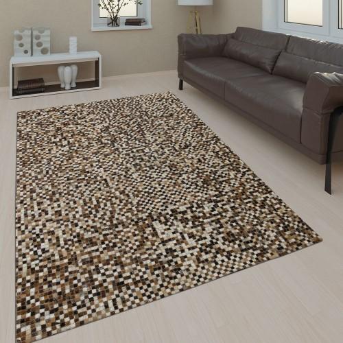 Lederteppich Mosaik Design Beige Handgefertigt