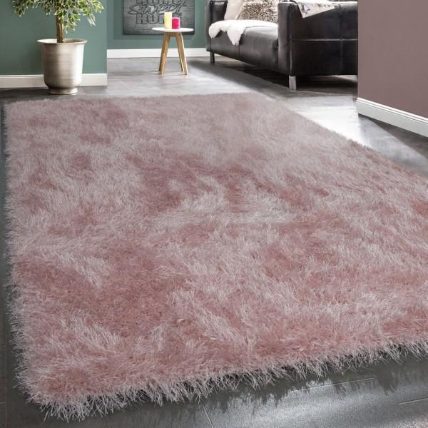 Moderner Wohnzimmer Shaggy Hochflor Teppich Soft Garn In Uni Pastell Rosa