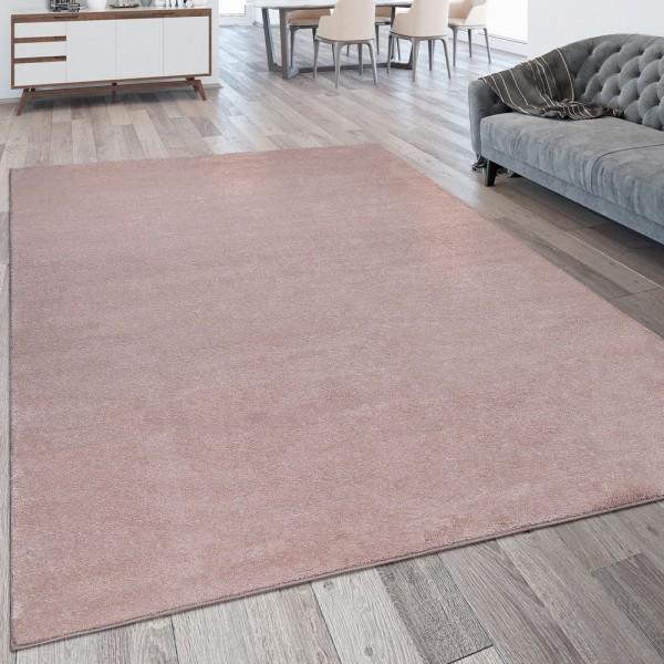 Kurzflor Wohnzimmer Teppich Waschbar Strapazierfähig Einfarbig Meliert In Rosa