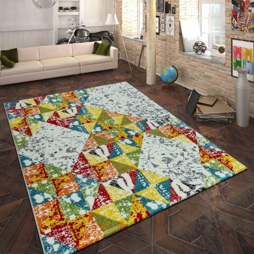 Designer Teppich Geometrisches Muster Multicolor