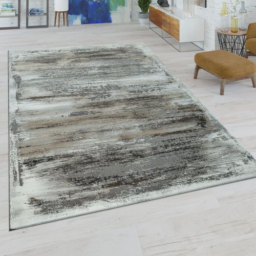 Kurzflor Wohnzimmer Teppich Modern Abstraktes Muster Used-Look In Beige Grau