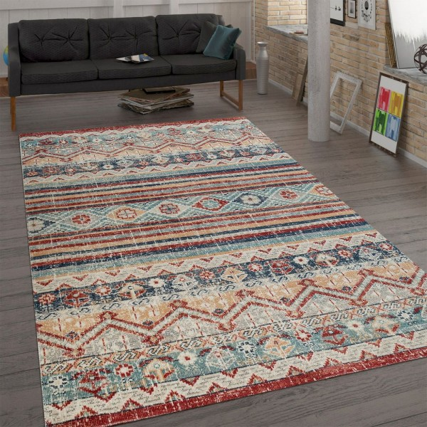 Trendiger Flachgewebe Teppich Vintage Orient Used Look Shabby Chic Mehrfarbig