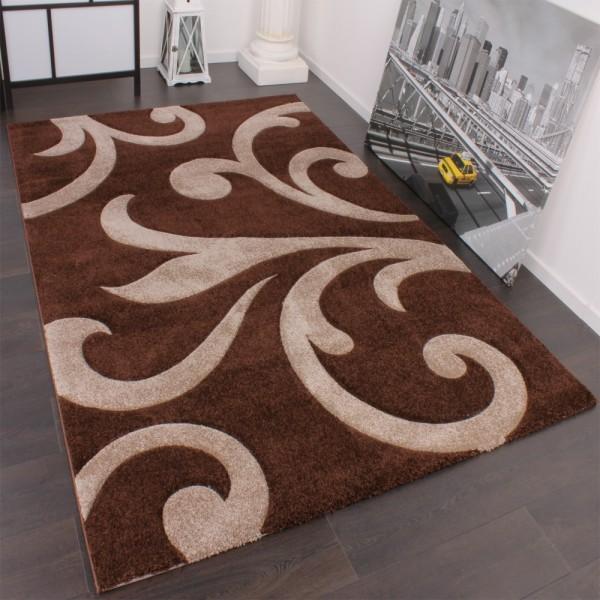 Designer Teppich mit Konturenschnitt Modern Braun Beige