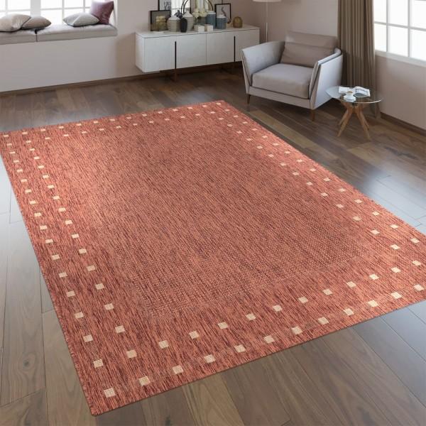 Flachgewebe Teppich Bordüre Orange