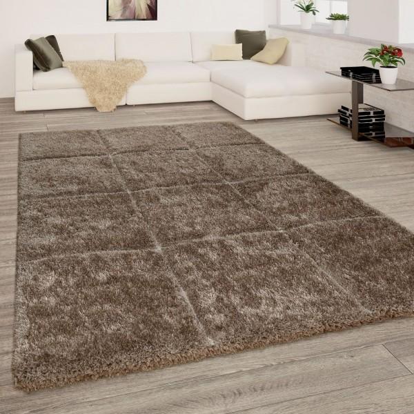 Hochflor Teppich Wohnzimmer Beige Creme Weich Shaggy Flauschig 3-D Karo Muster