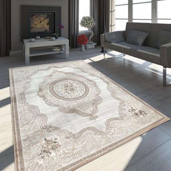 Orient Teppich Modern 3D Effekt Meliert Schimmernd Ornamente Bordüre Grau Beige