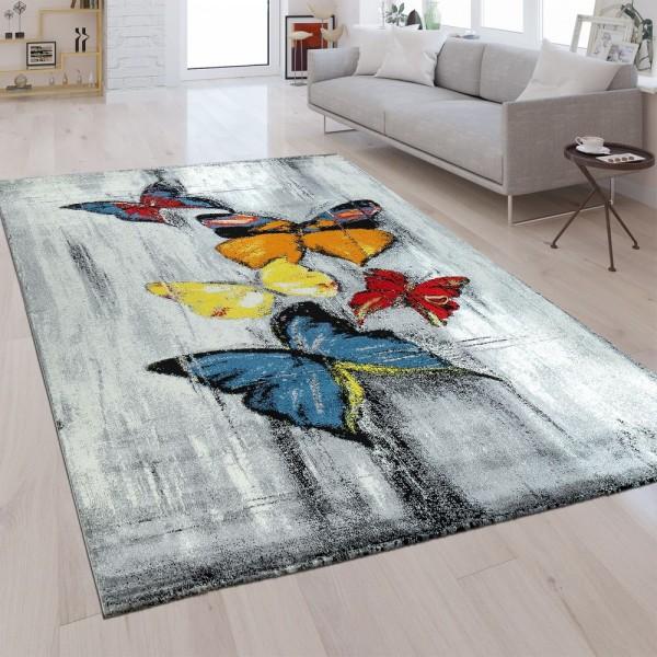 Designer Teppich Schmetterling Design Multicolor