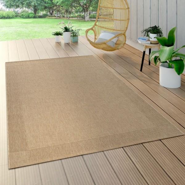 In- & Outdoor Flachgewebe Teppich Sisal Optik Natürlicher Look Einfarbig Beige