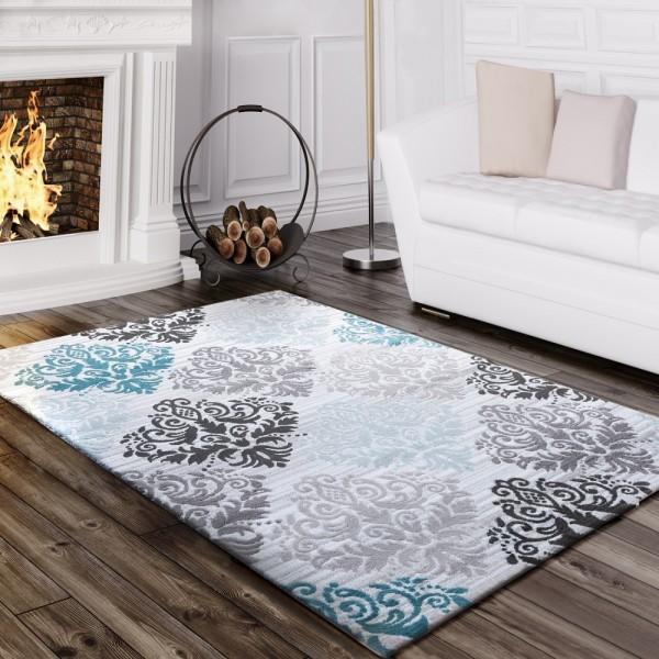 Designer Teppich Wohnzimmer Konturenschnitt Mit Barock Muster Meliert In Türkis