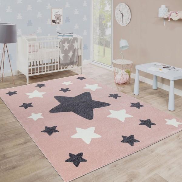 Teppich Kinderzimmer Kinderteppich Große Und Kleine Sterne In Rosa Grau