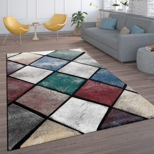 Teppich Wohnzimmer Rauten-Muster Kurzflor