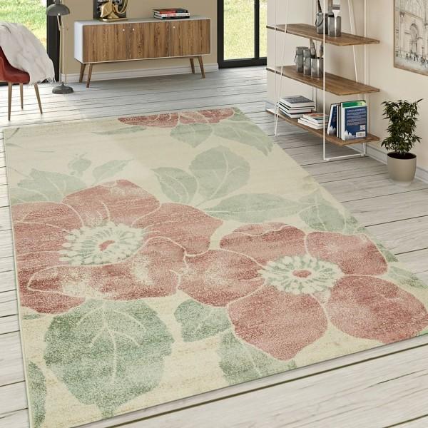 Designer Teppich Wohnzimmer Kurzflor Modern Florales Muster Pastellfarben Pink