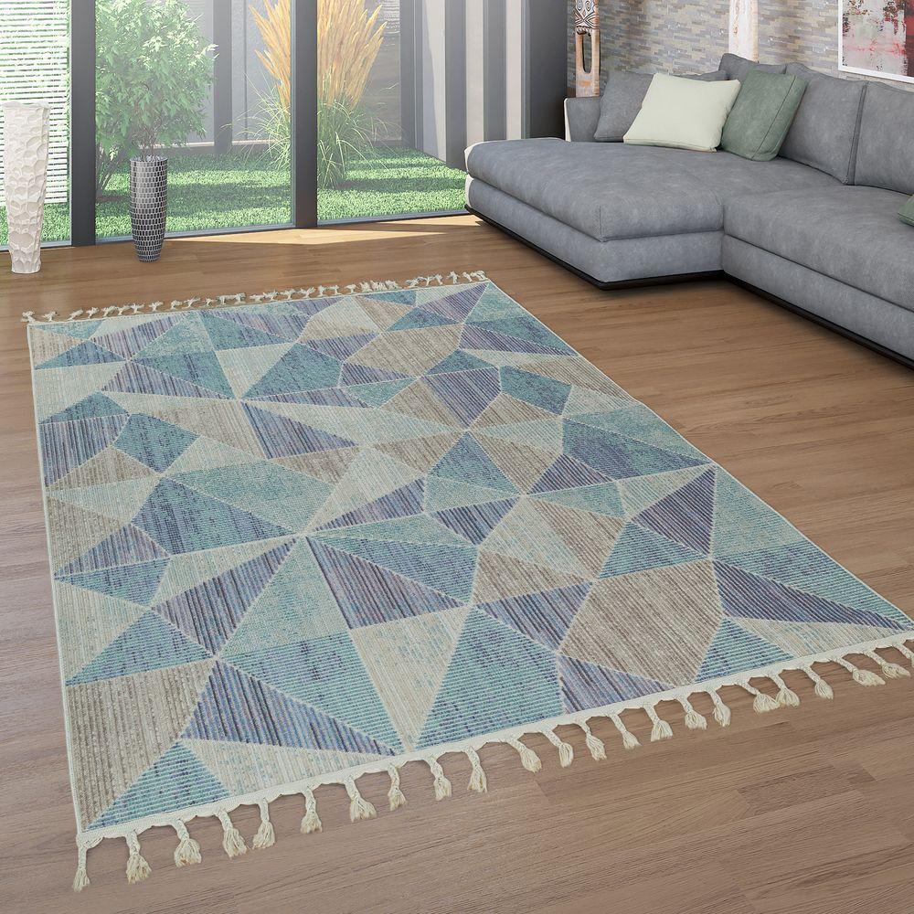 Teppich Wohnzimmer Fransen 3-D Design Kurzflor