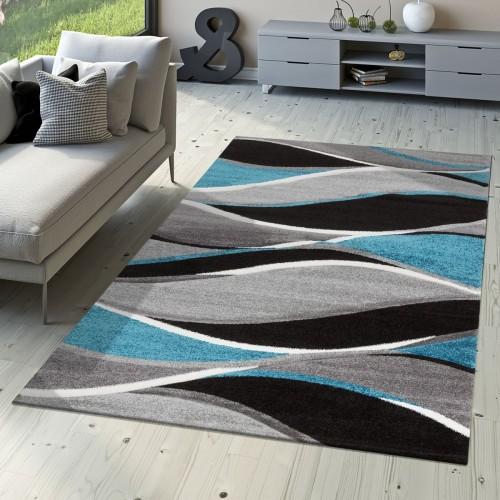 Designer Teppich Modern Meliert Geschwungene Streifen