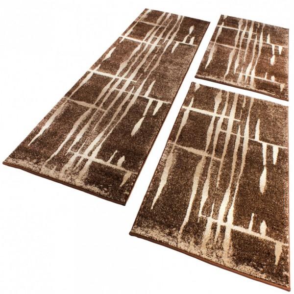 Läuferset mit Retro-Muster in Braun