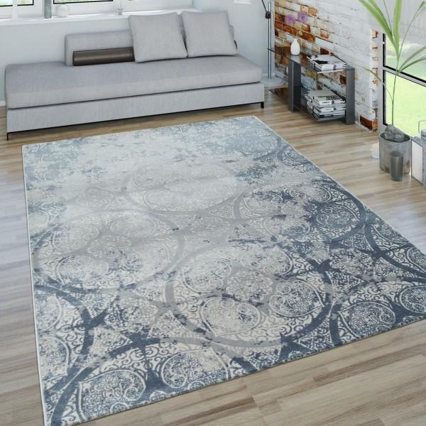 Kurzflor Wohnzimmer Teppich 3D-Optik Ornamente Geometrisches design In Blau Grau