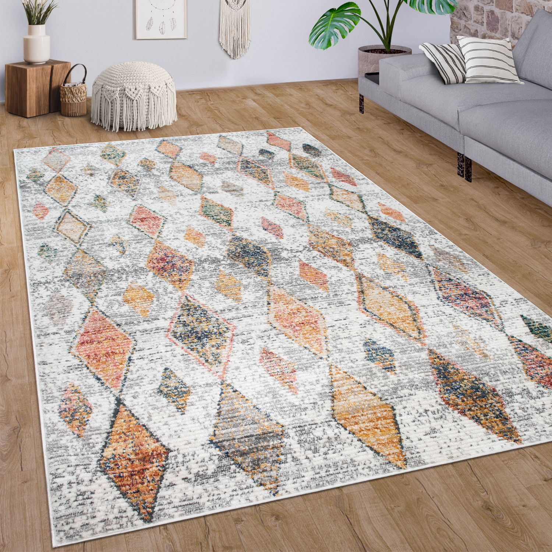 Teppich Wohnzimmer Vintage Ethno Muster Modern   teppich.de
