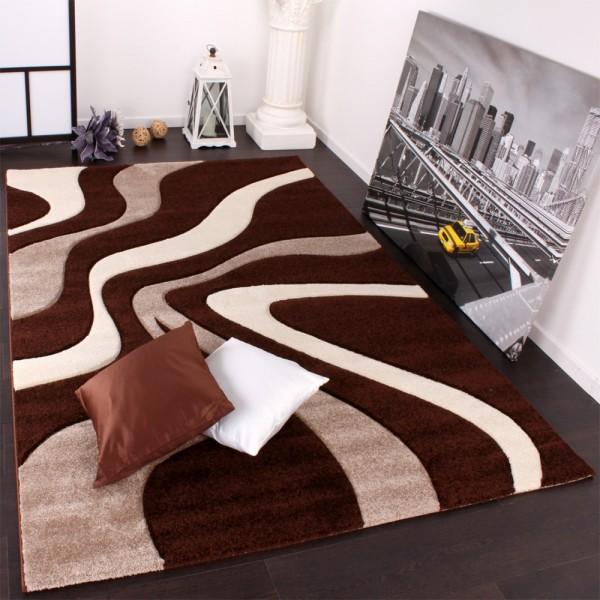 Designer Teppich mit Konturenschnitt Wellen Muster Braun Beige Creme