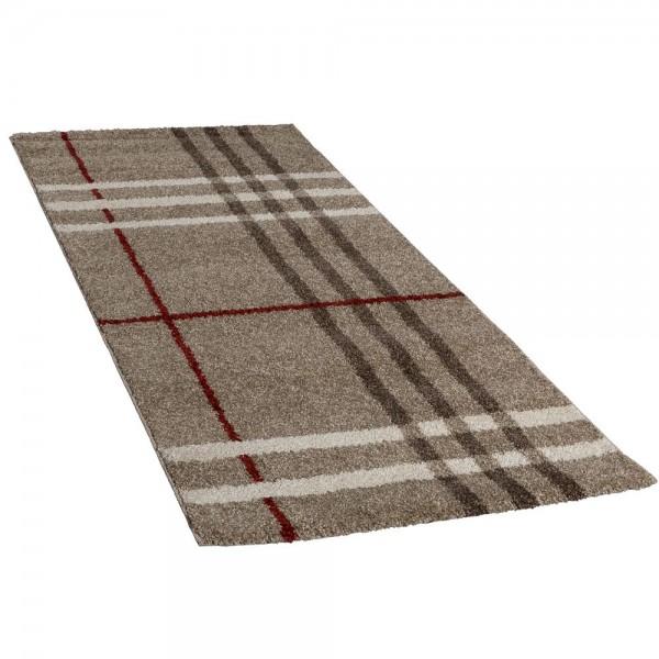 Hochwertiger Schwerer Webteppich Läufer Flur Teppich Beige Creme Rot Ausverkauf