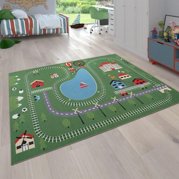 Kinder-Teppich Spiel-Landschaft Zug-Gleise