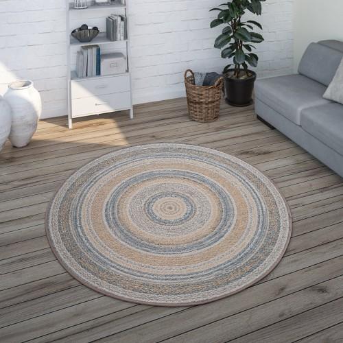 Runder In- & Outdoor-Teppich für Balkon Ethno