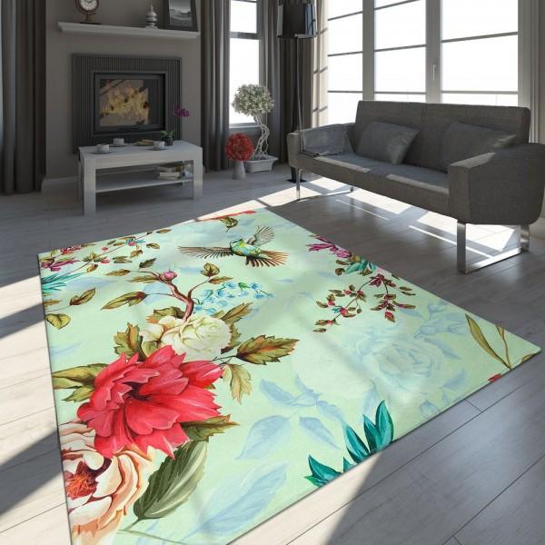 Designer Teppich Fliegender Vogel Pastell Grün